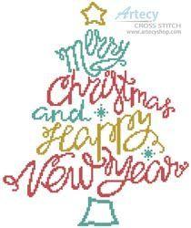 Merry Christmas and Happy New Year cross stitch chart - Artecy Cross Stitch