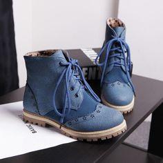 Aliexpress.com: Comprar Más el tamaño 34 43 de mujer primavera otoño botines Vintage talones planos con cordones exterior Casual mujer de invierno botas cortas zapatos de cuerno del zapato para las botas fiable proveedores en Coolfashion. Ltd.