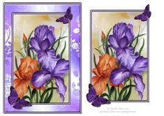 Irises and butterflies topper on Craftsuprint designed by Pamela West - Irises and butterflies topper made from one of my watercolour paintings - Now available for download!