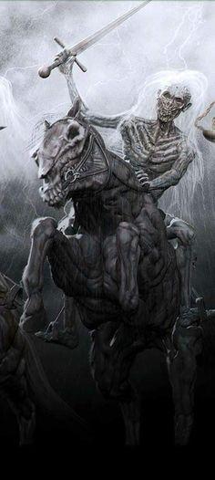 The Four Horsemen of the Apocalypse Creepy Horror, Horror Art, World Of Fantasy, Fantasy Art, Four Horsemen Of The Apocalypse Tattoo, Grim Reaper Art, Fantasy Wizard, Apocalypse Art, Pale Horse