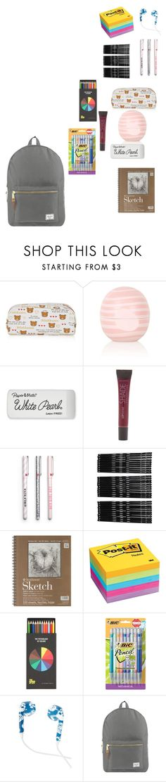"""""""What is in my backpack"""" by animeloverfrommars ❤ liked on Polyvore featuring Topshop, Paper Mate, SHADE Collection, Monki, Post-It, Polite and Herschel Supply Co."""