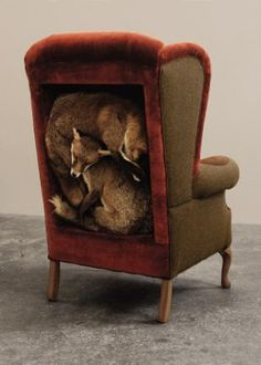 New exhibition on at the Guildhall Art Gallery featuring Allanah Curry's Trophy Chair with her taxidermy foxes curled up inside. Victoriana: The Art of Revival From Saturday 7 September toSunday 8December. From the macabre to the quaint, the sensational to the surreal, 'Victoriana: The Art of Revival' is the first ever exhibition in the UK to offer a major examination of Victorian revivalism in all its forms. Featuring graphic design, film, photography, ceramics, taxidermy, furniture…