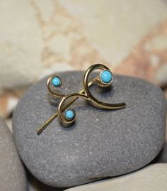 Turquoise EAR CLIMBER Earring // 14k Gold Filled ear pins, up the ear sweeps vines bar cuffs wrap earing / delicate earcuff stud