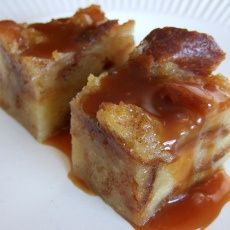 Shaker Bread Pudding with Oozing Caramel Sauce - I loved the way some of the cubes of bread pop through the top and get lovely and crunchy, especially once you add the caramel sauce. This was a great (and economical) way to use up leftover egg whites from other recipes that required only yolks,,