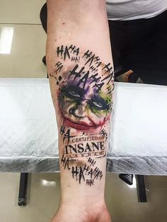 Empire Tattoos Gold Coast Australia artist Matt specialises in watercolour and neo-traditional tattoos. Tattoo The Joker Heath Ledger