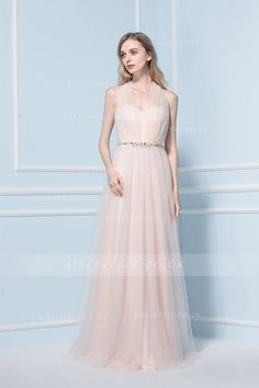 Halter A-line Floor-length Sleeveless Tulle Zipper Bridesmaid Dresses
