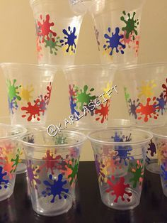 Custom Paint Party Disposable Cups Lids & by KarlasGift - Realty Worlds Tactical Gear Dark Art Relationship Goals Paintball Birthday Party, 6th Birthday Parties, 8th Birthday, Art Themed Party, Art Party, Painting For Kids, Painting Party Kids, Artist Birthday, Glow Party