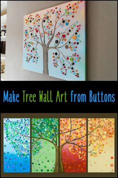 Why buy wall decor, when you can make one! Use the heap of buttons you have to make this beautiful tree art :)