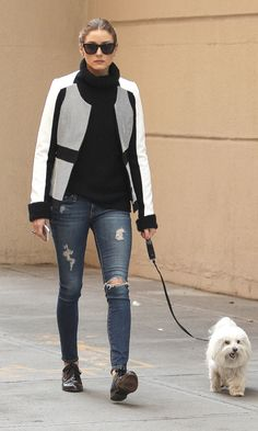Olivia Palermo in distressed jeans, black sweater, black brogues, and black-and-white jacket. Look Olivia Palermo, Estilo Olivia Palermo, Glamour, Looks Style, Giovanna Battaglia, Street Chic, Ripped Jeans, Lanvin, Her Style