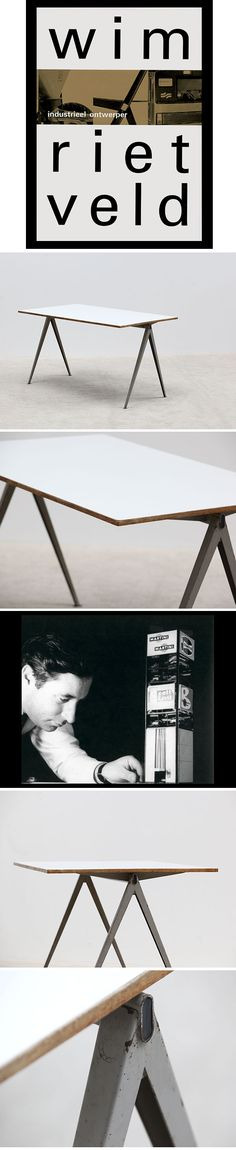 Industrial table with metal V shaped structure, table from the Pyramid serie, designed by Wim Rietveld, Inspired by Jean Prouv� reminiscent to the compas table. Would fit in any design, 1950 interior.;