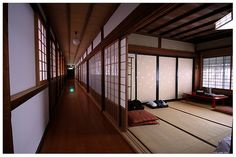 Engawa corridor with shoji wall panels and tatami mats are trademarks of traditional Japanese architecture.
