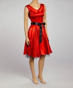 Look what I found on #zulily! Red & Black Ribbon Fit & Flare Dress by HEARTS & ROSES LONDON #zulilyfinds