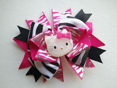Hello Kitty Rockstar Zebra Striped Hair Bow