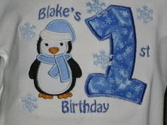 Penguin Birthday Shirt or Bodysuit with Frosty Number and Snowflakes...Free Personalization. $21.00, via Etsy.