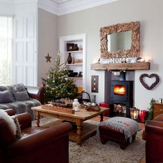 Country Christmas living room with rustic decorations | Country Christmas living room ideas | housetohome.co.uk