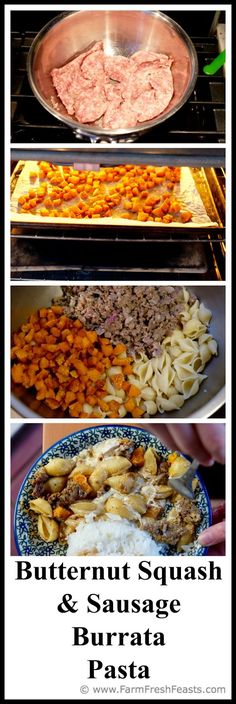 Cubes of butternut squash, Italian sausage crumbles, hot pasta and ...