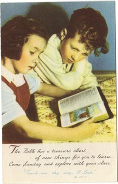 Vintage postcard from around the 50's inviting children to Sunday School.
