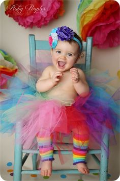 Maddy's first birthday! Rainbow themed