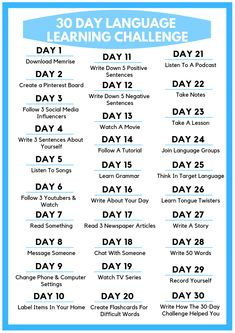 Check out this awesome 30 Day Language Learning Challenge! Each day learn new language learning tips. This is one of the most effective ways to learn a foreign language. Best Language Learning Apps, Learning Languages Tips, Spanish Language Learning, Languages To Learn, Korean Learning Apps, Learning Japanese, Kids Learning, Learn Another Language, Learn Foreign Language