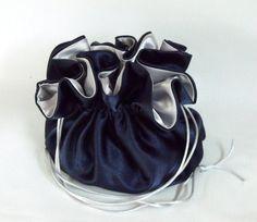 Satin Bridal Money Purse Money Dance Bag Navy by EdieCastle Wedding Bags, Wedding Stuff, Money Dance, Blue And Silver, Bucket Bag, Satin, Purses, Bridal, Navy