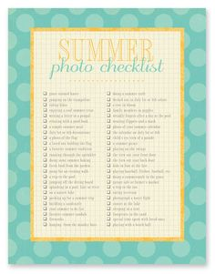 summer photo checklist: a free download - simple as that