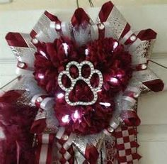 Triple homecoming mum - colored flowers, lights, football corsage