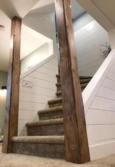 Home Basement Stairwell Wood Beams Birthstones And Their Meanings There are a lot of legends and lor Rustic Basement, Basement House, Basement Plans, Basement Ideas, Basement Ceilings, Basement Inspiration, Basement Stairwell Ideas, Open Basement Stairs, Basement Ceiling Painted