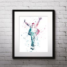 Michael Jackson art painting Poster Watercolor Printable Home Wall Art Print