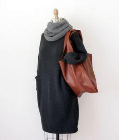 Lauren Manoogian Trapezoid dress / Hendrik.Lou baby alpaca Nomad cowl / Baggu classic bag in Molasses leather