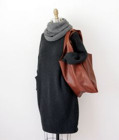Lauren Manoogian Trapezoid dress / Hendrik.Lou baby alpaca Nomad cowl / Baggu classic bag in Molasses leather