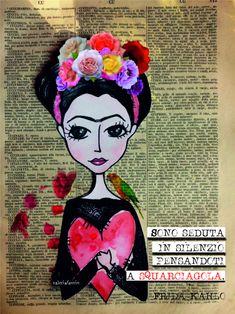 Sono seduta in silenzio, pensandoti a squarciagola. Frida Kahlo Frida Art, Love Phrases, Memories Quotes, Bullet Journal Ideas Pages, Art For Art Sake, Book Crafts, Words Quotes, Collage Art, Painted Rocks