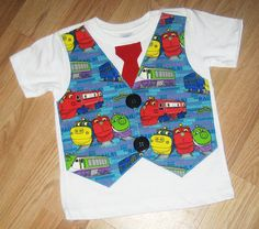 Chuggington toddler tee with tie and vest. Twin Birthday, 2nd Birthday Parties, Birthday Ideas, Chuggington Birthday, Toddler Vest, Train Party, Toy Craft, First Birthdays, Party Ideas