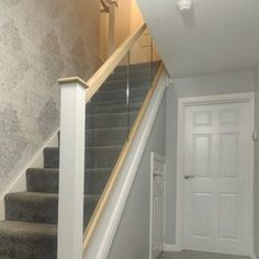 Our Wonderful Gallery of Staircases Refurbishments | Stairfurb's Gallery Oak Newel Post, Newel Post Caps, Stair Posts, Newel Posts, Wall Mounted Handrail, Oak Handrail, Stainless Steel Handrail, Stair Lighting, Glass Balustrade