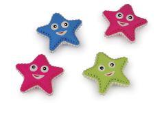 """Radiergummi """"Seesterne"""". 24-er Set. Diese süßen Sternchen helfen Rechtschreibfehler oder misslungene Striche von Bleistiften zu beheben! Das Tolle an den Radiergummis - die """"Masken"""" der Sterne sind untereinander und kleine Schriftgelehrte können ihre Radierer variabel gestalten!"""