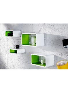 Retro design floating shelves in white and green 4pcs wooden shelving unit - www.neofurn.co.uk