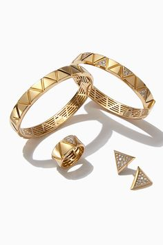 Get your look solid gold with the geometric stylings of #MarinaB jewelry. See more at Saks.com. #SaksStyle