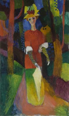 august macke(1887-1914), woman in park, 1914. oil on canvas, 97.8 x 58.9 cm. museum of modern art, new york, usa https://www.moma.org/collection/works/78459?locale=en