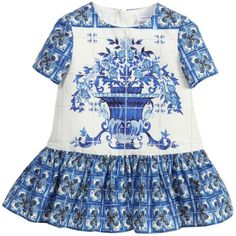 Dolce & Gabbana Baby Girls Blue 'Majolica' Dress & Knickers at Childrensalon.com