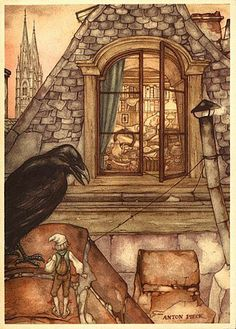 Anton Pieck From The wonderful travels of Nils - looking at HC Andersen