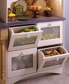 60+ Innovative Kitchen Organization and Storage DIY Projects - Drawer Storage for the Kitchen: You've seen those amazing kitchens that seem to have a space for everything. Well, you don't actually have to spend a fortune getting organized. You can add bins for veggies and fruits, pull out drawers for cutlery and even a slide out chopping block that will help you to save space and keep everything in its place.