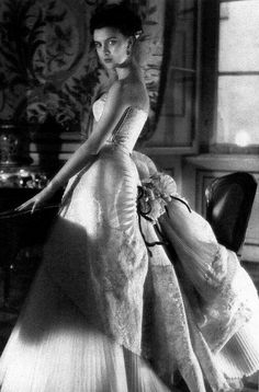 1953 Actress Ilaria Occhini in beautiful ball gown (unidentified designer), photo by Henry Clarke, Paris Vogue,