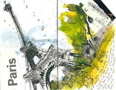 aquarelle+ encre+ stylo watercolour and ink travel sketching Moleskine Sketchbook, Travel Sketchbook, Travel Journals, Art Journals, Travel Books, Eiffel Tower Painting, Graphic Design Illustration, Travel Illustration, Drawing Journal