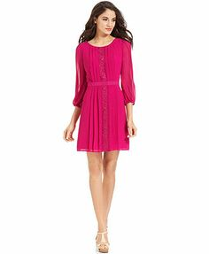 ec5a5c85a5 Jessica Simpson Three-Quarter-Sleeve Chiffon Dress in blue Musical Theatre  Auditions