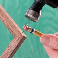 AWESOME TIP ~ Use a split eraser to hold a finish nail in place! | Re-Scape.Com