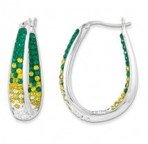 Spirit Collection- Green, Yellow, & White Team Colors Sterling Silver Swarovski Elements Spirit Earrings