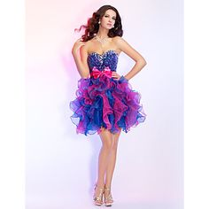 Prom/Cocktail Party/Homecoming/Sweet 16 Dress Ball Gown Strapless/Sweetheart Short/Mini Organza/Sequined Dress – USD $ 249.99