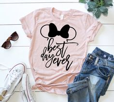 Best Day Ever Adult Shirt   Minnie Mouse Ears   Disney Inspired Shirt   Mouse Ears   Best Day Ever   Tangled