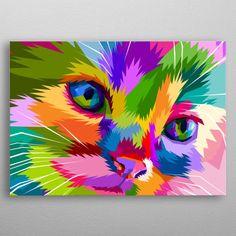 close up of adorable cat on pop art metal poster Diy Canvas Art, Canvas Artwork, Pop Art Wallpaper, Wallpaper Backgrounds, Pop Art Posters, Modern Art Paintings, Arte Pop, Cat Art, Painting Inspiration