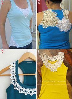 Buenisima idea de dar vida a esa ropa que ya no usas o que esta algo gastada. __DIY T shirt Refashion Ideas With Crochet Details