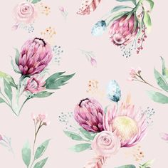 Hand drawing seamless watercolor floral patterns with protea rose, leaves, branches and flowers. Background for greeting wedding card. Protea Art, Protea Flower, Pink Patterns, Pretty Patterns, Oeko Tex 100, Stock Foto, Watercolor Flowers, Watercolor Art, Watercolor Illustration
